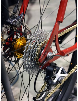 Groovy Cycleworks modified a Shimano Deore XT cassette to fit on a truncated Chris King singlespeed freehub body for a dishless rear wheel