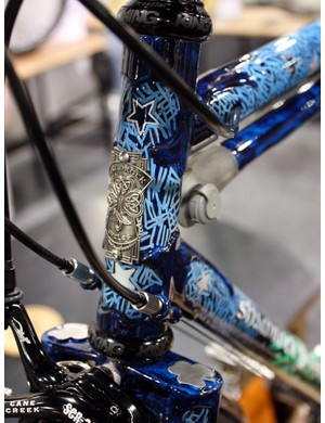 The Shamrock Cycles head tube badge is surrounded by a starry night