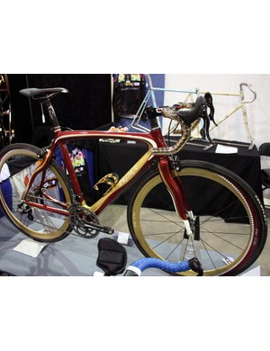 VeloColour refinished this Pinarello Prince with a brilliant deep red and gold paint job