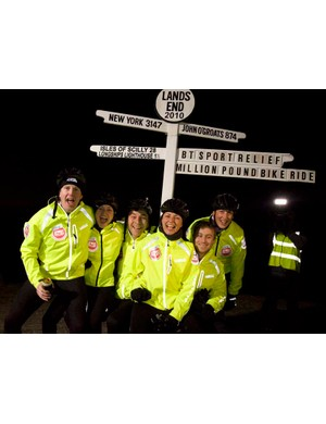 Celebrity cyclists Patrick Kielty, Fearne Cotton, David Walliams Davina McCall, Russell Howard and Miranda Hart celebrate their arrival in Land's End