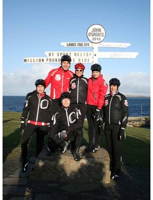 Celebrity cyclists Russell Howard, David Walliams, Patrick Kielty, Davina McCall, Fearne Cotton and Miranda Hart in John O'Groats at the start of their ride