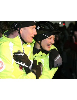 Patrick Kielty and Fearne Cotton at the end of their 1000 mile ride