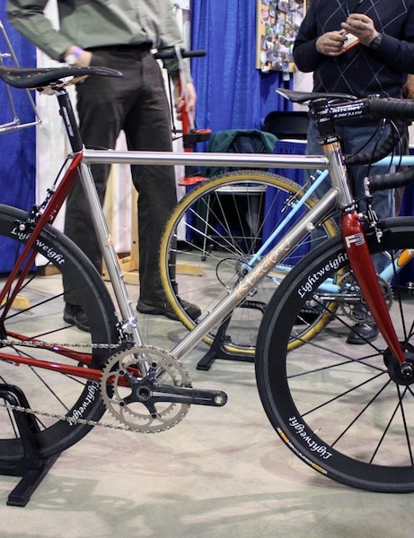 Kelly Bedford displayed this stunning lugged stainless steel road bike.