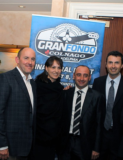 From left to right: Alessandro Colnago, Rob Klinsmith (Partrner of Gran Fondo USA), Mona Mofid (President of the America Melanoma Foundation), Paolo Bettini, Carlo Boroli (President of Briko), Matteo Gerevini (Partner of Gran Fondo USA)