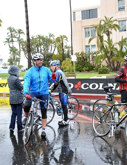 A group of riders kitted up against the weather