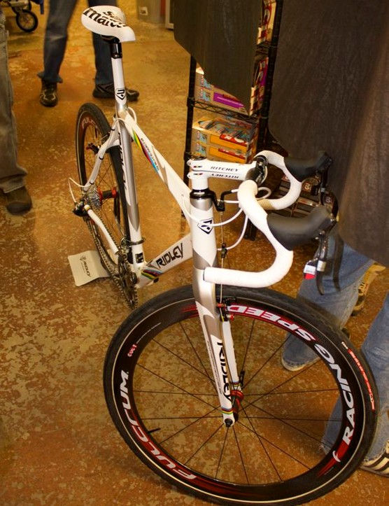 The replica X-Night at BCS had Fulcrum Racing Speed tubulars, but the $4,000 complete bike comes with HED clinchers