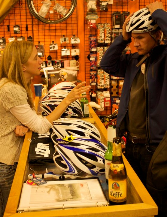 Rebecca Karbon, Lazer's sales manager, was on hand to talk helmets with the BCS team