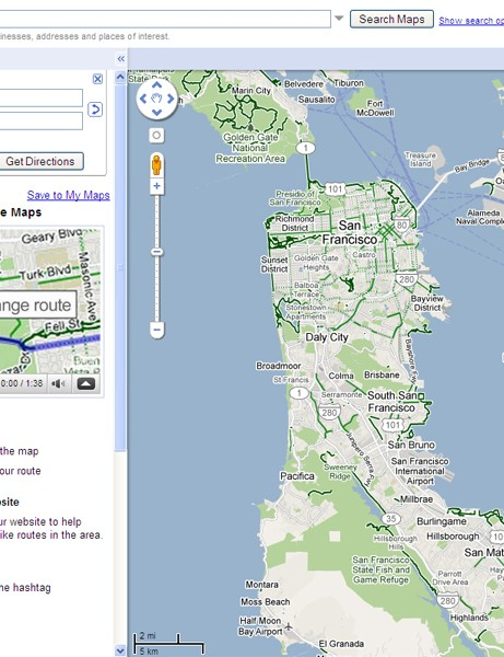 Google Maps users can get cycling directions and view bike lanes