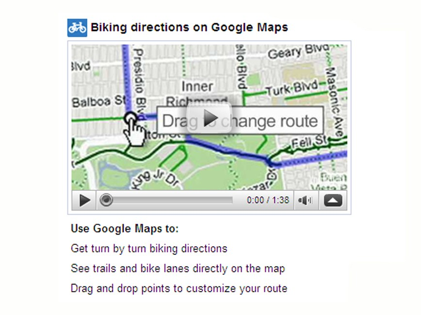Cycling directions added to Google Maps in US - BikeRadar on google search, google map lakeport ca, google earth, google livestreet map trinidad, driving directions, google map from to, bing directions, google street view, custom map directions, google mapa, map with directions, google calendar, google latitude, get directions, mapquest directions, google mapquest, maps and directions, apple maps directions, google map request, google mars,