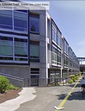 Google Street View image showing the Burke-Gilman Trail cycle path which passes Google's Seattle offices