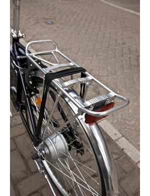 Full mudguards, and a rear alloy parcel rack, with luggage straps and stainless steel washers and bolts - you won't get any rusting here
