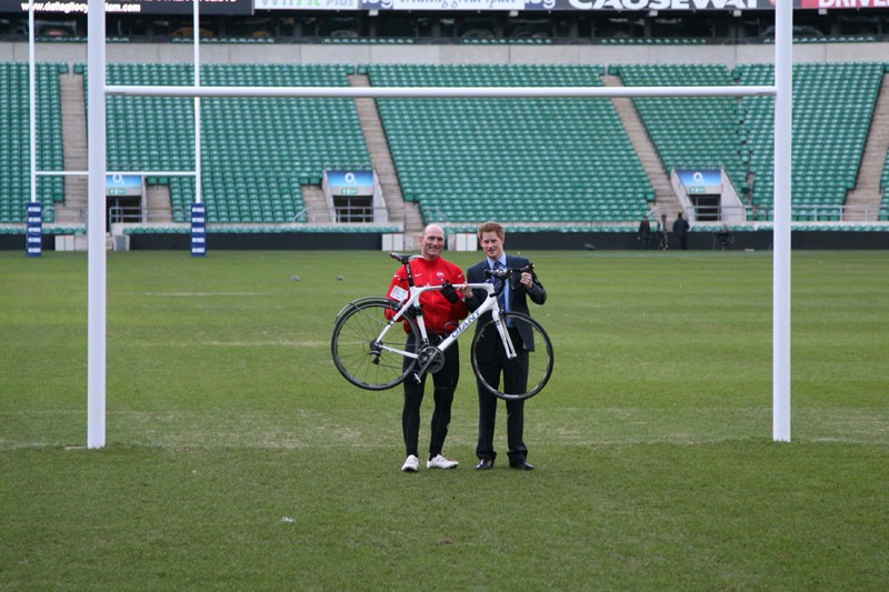 The riders were greeted by Prince Harry when they reached Twickenham Stadium, home of English rugby