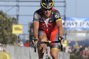 Seven times Tour de France winner Lance Armstrong of the US crosses the finish line on March 14, 2010 at the Cape Argus cycling race in Cape Town, South Africa
