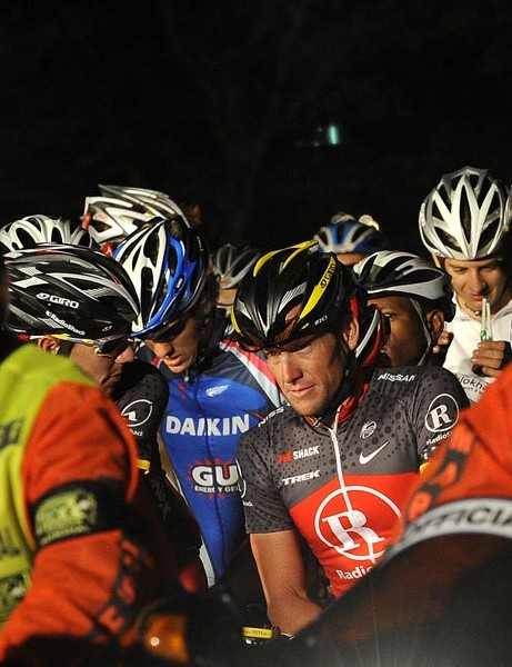Seven times Tour de France winner Lance Armstrong (C) of the US gets set on the starting line on March 14, 2010 during the Cape Argus Cycling race in Cape Town, South Africa