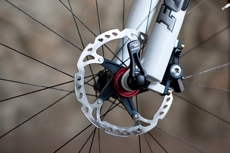 Shimano XTR brakes and rotors are fitted to Craig's bike, which also uses a 15mm through-axle up front