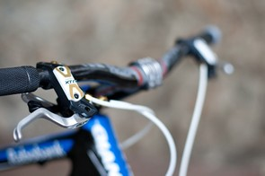 Craig's XTR brake levers are hopped up with Shimano's Yumeya upgrade kit