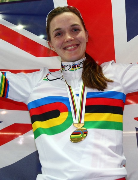 Victoria Pendleton celebrates winning the women's sprint final at the 2009 UCI Track Cycling World Championships in Pruszkow, Poland