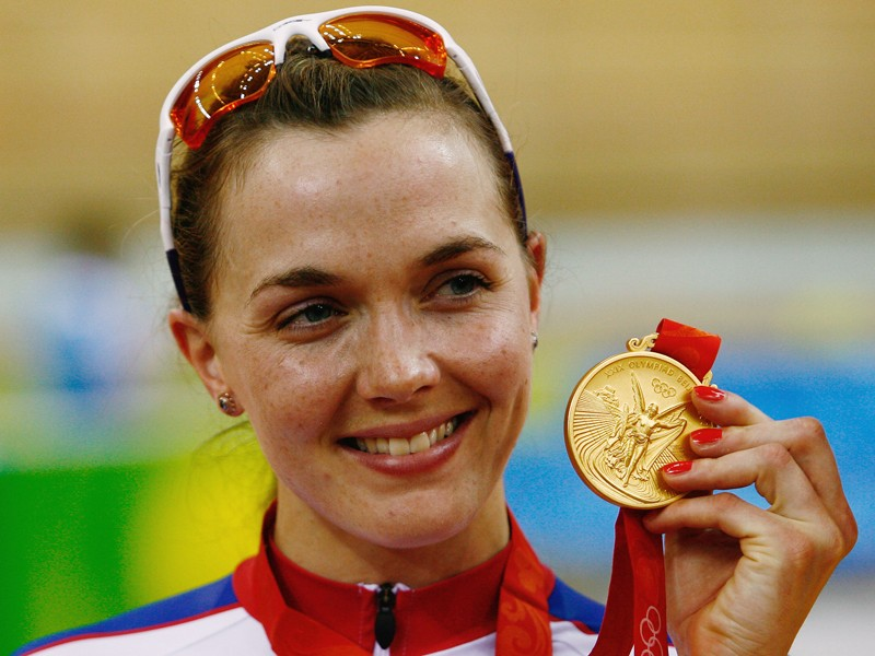Victoria with her gold medal from the women's sprint at the 2008 Beijing Olympic Games