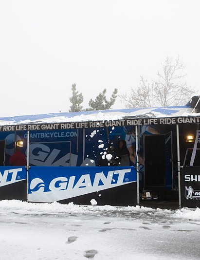 The Giant team camp and presentation was buried in snow, despite being in Tehachapi, California. This rig will visit downhill and cross-country races across the US