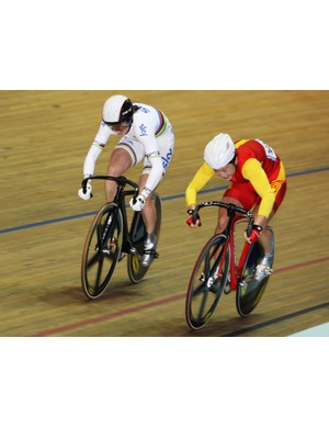 Victoria rides against Shuang Guo of China at the Track Cycling World Cup round at Manchester Velodrome last year