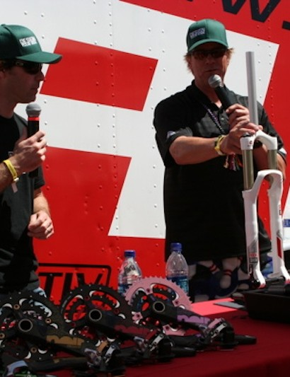 Rigney and Greg Herbold talk 20mm thru-axles at Sea Otter in 2009.