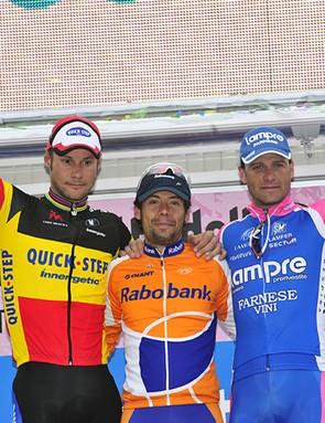The podium: Tom Boonen (2nd), Oscar Freire (1st), Alessandro Petacchi (3rd)