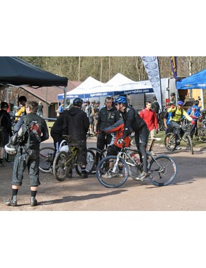 The Demo Day area was full of riders keen to try out the latest kit