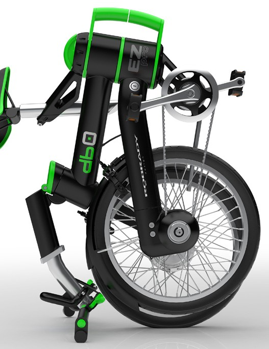 The bike hinges and in two and a clever touch is the use of the handlebars to act as a stand for the folded bike