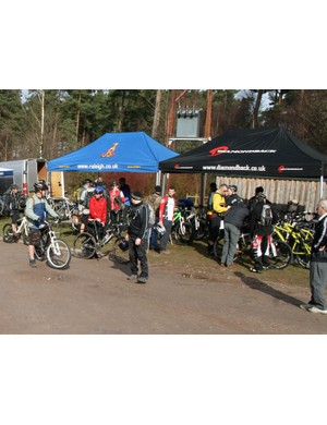 Bikes from Diamondback, Corratec and BH were available to demo at the Raleigh stand