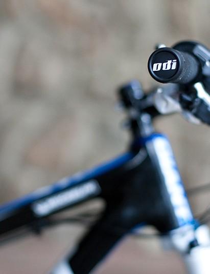 Wired-on ODI Ruffian grips help Emmett hold on