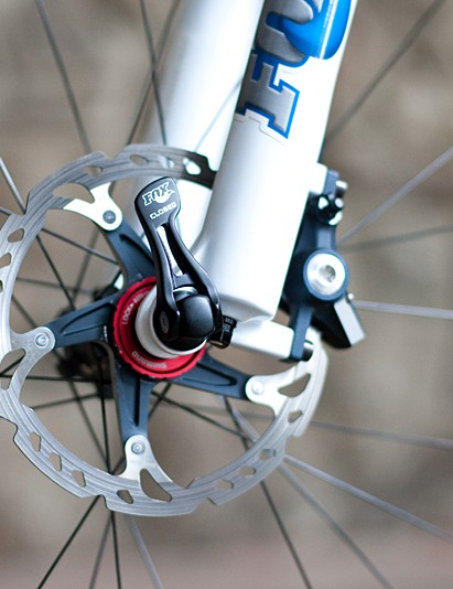The newly fitted 15mm through-axle fork adds extra steering precision