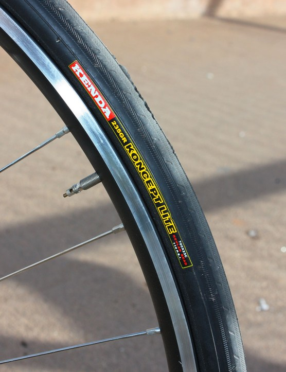 Kenda's Koncept Lite clinchers ride surprisingly well on broken pavement in spite of the relatively stiff casing