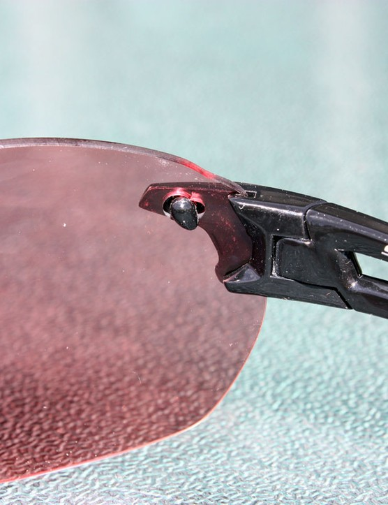 Smith Optics' ingenious Pivlock system uses a clever arrangement of keyed bits on the lens and earpiece to lock them together