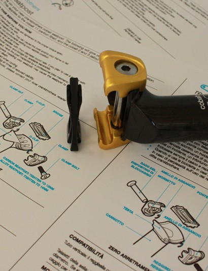 The one-bolt clamp uses a separate stiffener to support the saddle rails