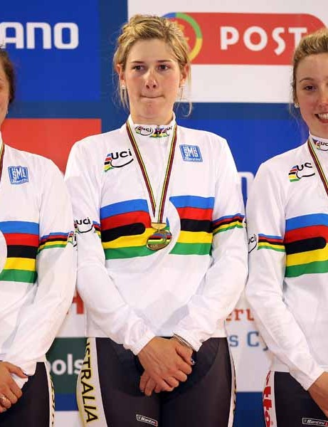 Australians Ashlee Ankudinoff, Sarah Kent and Josephine Tomic on top of the podium after winning the women's team pursuit final