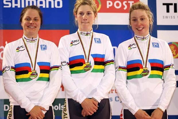 Australians Ashlee Ankudinoff, Sarah Kent and Josephine Tomic on top of the podium after winning the women's team pursuit final