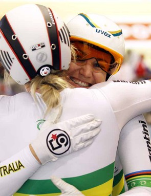 Kaarle McCulloch and Anna Meares hug after winning the women's team sprint