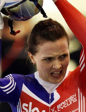 Victoria Pendleton (GBr) shows her disgust after finishing second behind Simona Krupeckaite in the women's keirin.