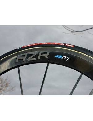 The 46mm-deep rim uses a mix of carbon and boron fibres
