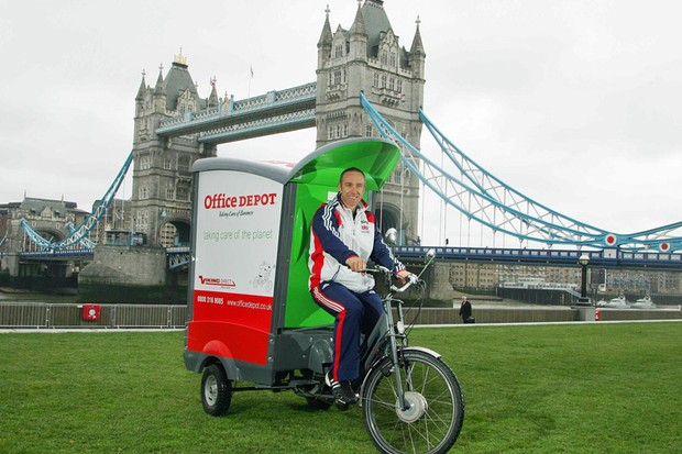 Jamie Staff helps launch Office Depot's new cargo bikes at Tower Bridge in London