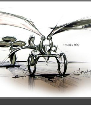 A sketch of the 'ColnaGo-Up' reveals the Colnago emblem featured on the rear controls ...