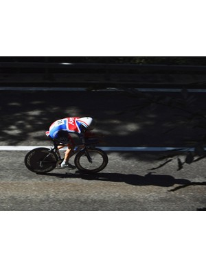 Alex Dowsett during the U23 time trial at the 2008 UCI Road World Championships in Varese, Italy
