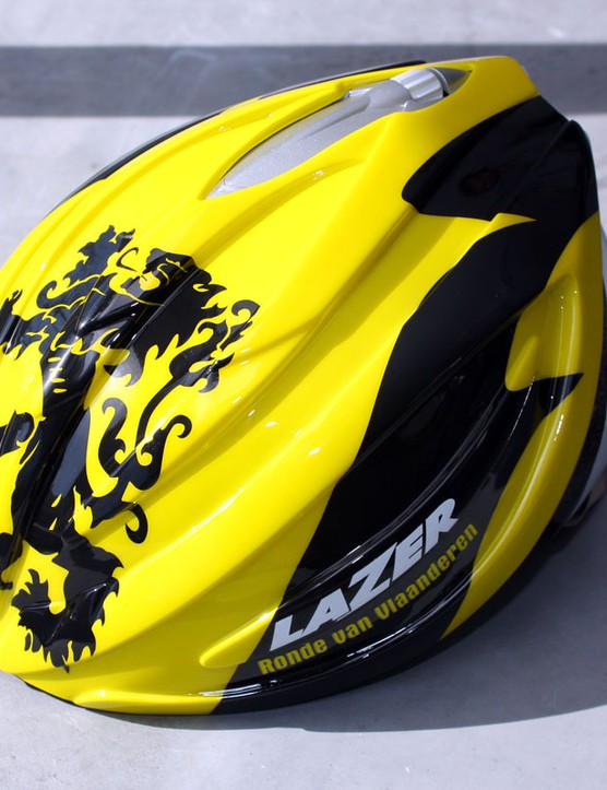 The Lazer Aero Shell helmet cover snaps on securely to the company's top-end Helium model yet is still easy to remove.