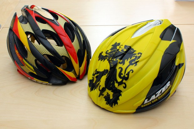 Katusha riders will sport these specially finished polycarbonate helmet covers at Ronde van Vlaanderen to help protect their heads from cold wind and rain.