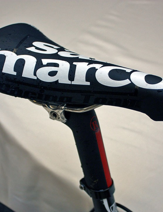 Armstrong's trademark Selle San Marco Concor Lite saddles were often free of identifying logos in recent years but they're flown proudly now.