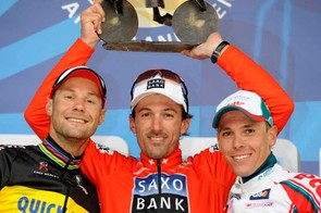 Tom Boonen (2nd), Fabian Cancellara (1st) and Philippe Gilbert (3rd)