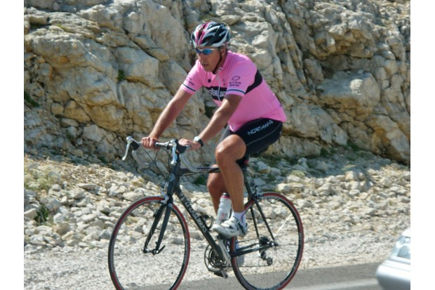 Pretty in pink: Andrew in his Systeme Jacques kit