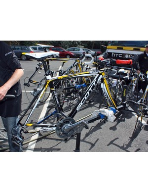 Cavendish's bike is prepped for the race
