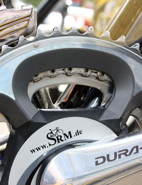SRM's new 7900-compatible crankarms feature a profiled spider to better match with the hollow chainrings.