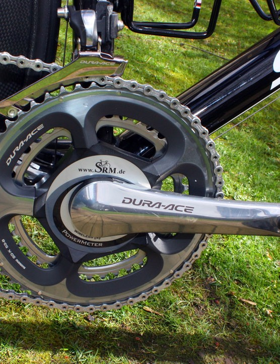 Cavendish's SRM power meter is an interesting hybrid of Dura-Ace 7800 arms with a new spider designed to fit with 7900 chainrings.
